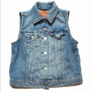 Levis Denim Sleeveless Vest Jacket Blue Size XS